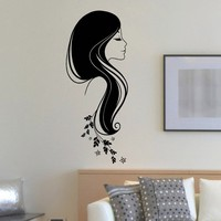 Wall Decal Vinyl Sticker Beauty Girl Hair Salon Spa Decor Sb493