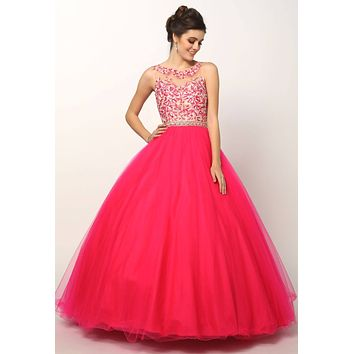 Juliet 360 Fuchsia Applique Bodice Bateau Neckline Quinceanera Dress