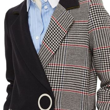 Topshop Colorblock Check Wool Blend Coat | Nordstrom