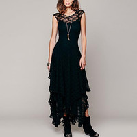 Black Lace Ruffled Hemline Maxi Dress