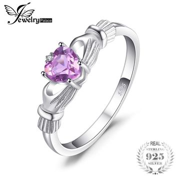 JewelryPalace Natural Amethyst Irish Claddagh Ring Solid 925 Sterling Silver Love Heart Fine Jewelry February Birthstone On Sale