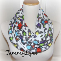 Rainbow Leopard, Cheetah, Animal Print Infinity Scarf Womens Accessories Tammy Lynns Creations