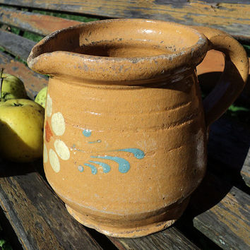 French Alsatian Shabby Chic Small Pitcher Glazed Pottery, French Jug, Sandstone, Earthenware, French Farmhouse, Rustic Decor, Primitive Pot