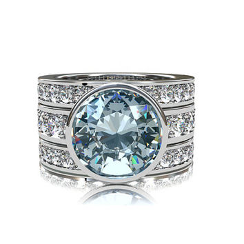 2.22ct Aquamarine engagement ring set with 1.70ct of diamonds,  bezel engagement ring, half eternity, three ring set, wedding, light blue