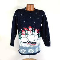 Ugly Christmas Sweater Vintage Snowmen Snowman Holiday Tacky
