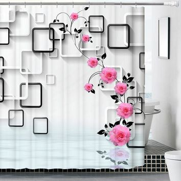 New 3D Flowers Printed Waterproof Bathroom Products Shower Curtains Mildew Thicken Bathing Covers Home Decorations More Size M13