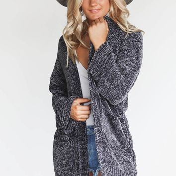 Lift Me Up Charcoal Chenille Cardigan