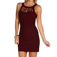 Burgundy Cage Banded Dress