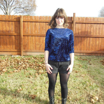 Vintage 1990's grunge, navy blue, crushed velvet shirt with 3/4 length sleeves.