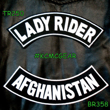 Military Biker Patch Set Lady Rider Afghanistan Embroidered Patches Sew on Patches for Jackets