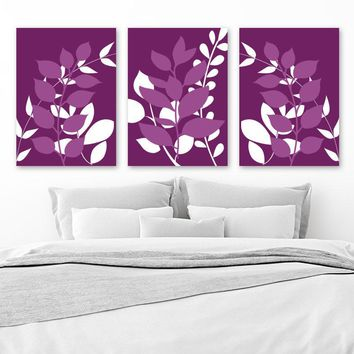PURPLE Wall Art, Purple Bedroom Pictures, Leaves Wall Art CANVAS or Prints, Purple Bathroom Wall Decor, Leaf Foliage Pictures, Set of 3 Art