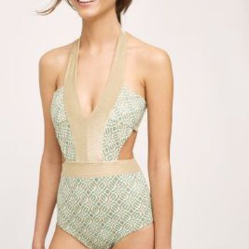 Ondademar Shimmered Geo One-Piece in Green Motif Size: