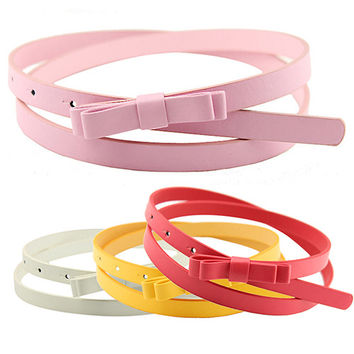 PU Leather Bowknot Thin Belt