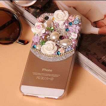 Floral iphone 6 plus case flower rhinestone iphone 6 case bling iphone 6 plus iphone 5/5s/5c/4/4s case samsung note 2/3/4 s4/5 cases covers
