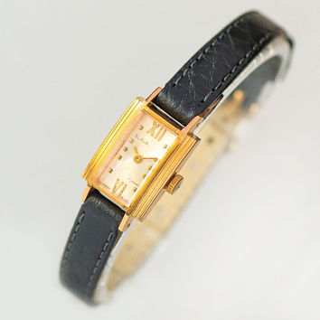 Little gold plated lady wristwatch Glory. Rectangular women watch retro. Minimalist lady watch gift roman numerals New premium leather strap