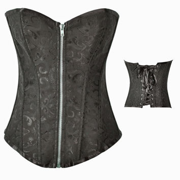 Sexy Gothic Victorian Bustier Corset size up to XXXXL Black and White = 1929885636