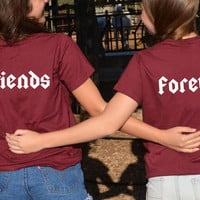 Friends Forever shirts back print set of 2 matching bestfriends shirts bff shirt  birthday best friend gift sisters tshirts