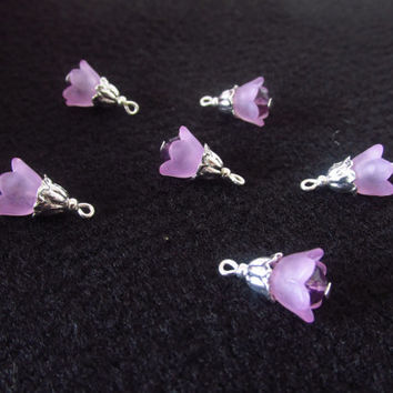 6 Pcs. Lucite Flower Cap Charms - Purple Crystal Beads - Beaded Handmade DIY Jewelry Parts - Crystal Jewelry Supplies - Gifts for Her