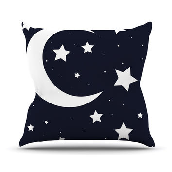 "KESS Original ""Moon & Stars"" Black White Throw Pillow"