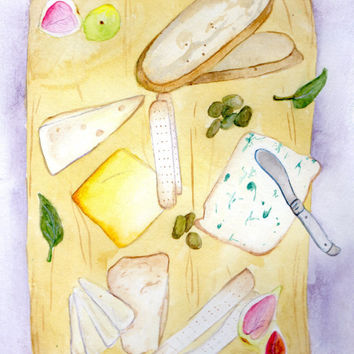 Cheese Board Watercolor Painting, Wine and Cheese Painting, Kitchen Painting, Home Decor Painting