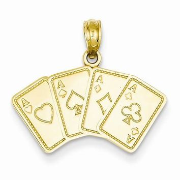14k Gold Aces Playing Cards Pendant