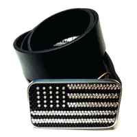 MAGNETIC rhinestone black and white FLAG buckle, Interchangeable Magnetic Belt Buckle, USA Flag belt buckle