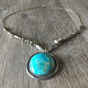 Large Vintage Blue Turquoise Necklace with Oversize Gemstone Pendant, Native American Made, Sterling Silver Statement Necklace