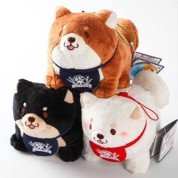 retail Japan loyal dog Shiba Inu three brothers  plush doll keychain bag pendant