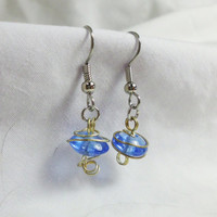 "French Silver Dangle Earrings, Blue Wire Wrapped Glass Beads, ""Aline"""