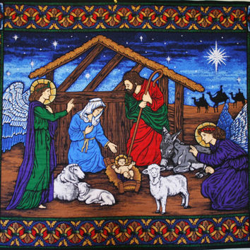 Christmas Wall Hanging,  Nativity Scene,  Quilted Nativity Banner, Stained glass style Holiday Decor