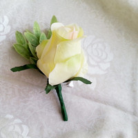 Lime yellow rose flower olive leafs Groom and groomsmen boutonniere, Wedding Flowers custom corsage