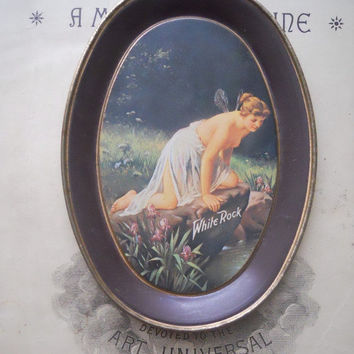 MOVING SALE Beautiful Vintage White Rock Decorative Tin Plate
