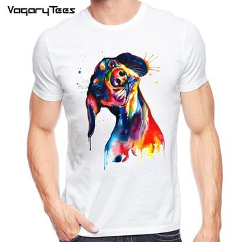 Newest Funny Hand Painted Dachshund T-Shirt Men's Animals watercolor T Shirt Summer Hipster Cool Male Streetwear Tee Tops