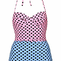 Contrast Spot Scallop Swimsuit