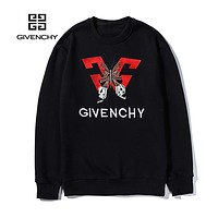 GIVENCHY Popular Women Men Casual Embroidery Round Collar Sweater Sweatshirt Black