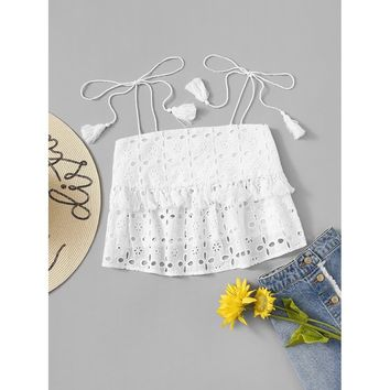 Tassel Applique Eyelet Embroidery Top
