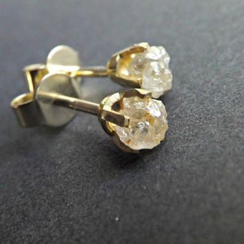 rough diamond earrings, 14k yellow gold uncut diamond studs, raw diamond studs solid gold, rustic diamond earrings, white raw diamonds uncut