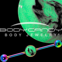 Glow in the Dark Howling Wolf Industrial Barbell in Rainbow Titanium | Body Candy Body Jewelry