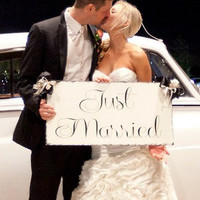 Just Married - Large ONE sided - 14x28 Wedding Photo prop, Here comes the Bride...Flower Girl Sign, Ring Bearer