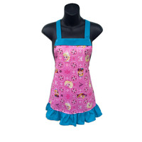 Frozen Sisters Glitter Kids Apron // Disney's Frozen Kids Apron // Frozen Pink Glitter // Elsa, Anna // Size 4-6-8-Young Adult