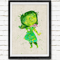 Inside Out Disgust Poster, Emotions Disney Watercolor Art Print, Kids Decor, Wall Art, Home Decor, Gift, Not Framed, Buy 2 Get 1 Free!
