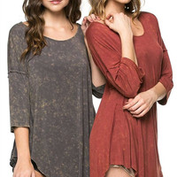 Stone Washed Charcoal Dolman Tunic
