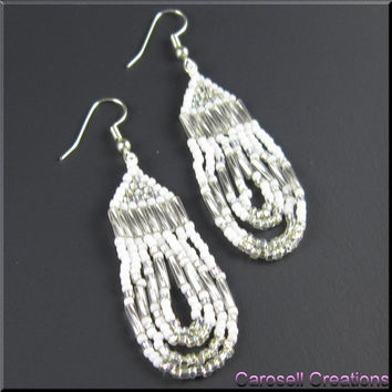Loop De Loop Native American Style Beadkwork Dangle Seed Bead Earrings in White