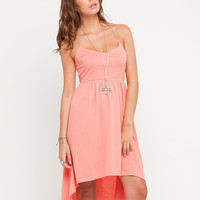 Motel Bryony Dip Hem Strappy Dress in Coral