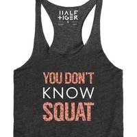You Don't Know Squat (Floral)-Female Heather Onyx Tank