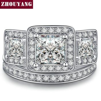 ZHOUYANG Luxury Square-cut AAA+ Cubic Zirconia Silver Color Ring Set Fahion Wedding Jewelry For Women Girl Gift Wholesale YG028