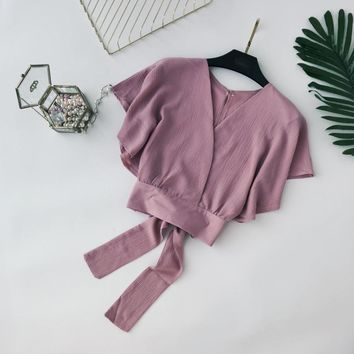 2018 summer women green pink short flare sleeve short top sexy wrap v neck blouse female vacation lace up bow tie crop shirt top