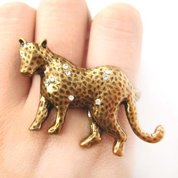 Realistic Unique Leopard Cat Animal Double Duo Finger Ring in Bronze