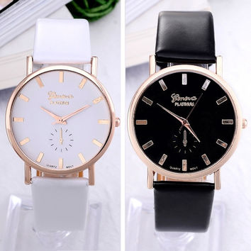 Simple style white and black geneva watch for women girls women dress watch leather strap quartz wristwatch watches for female = 5987520129