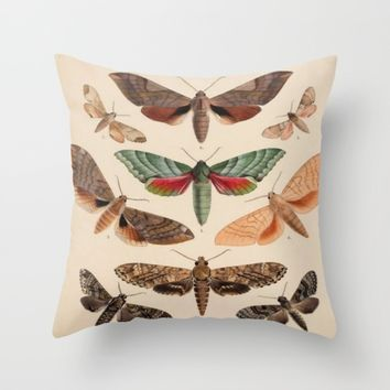 Vintage Natural History Moths Throw Pillow by Blue Specs Studio